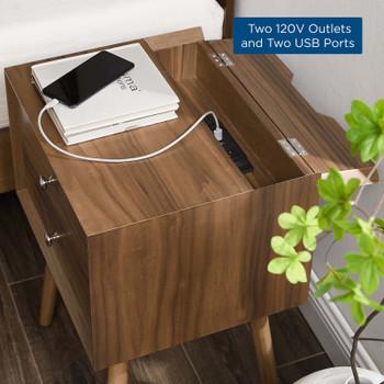 Ember Wood Nightstand With USB Ports EEI-4343-WAL-WAL