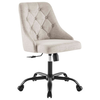 Distinct Tufted Swivel Upholstered Office Chair EEI-4369-BLK-BEI