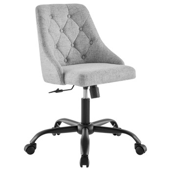 Distinct Tufted Swivel Upholstered Office Chair EEI-4369-BLK-LGR