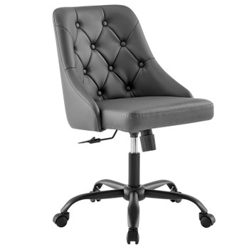Distinct Tufted Swivel Vegan Leather Office Chair EEI-4370-BLK-GRY