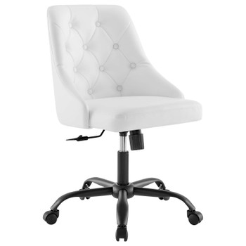 Distinct Tufted Swivel Vegan Leather Office Chair EEI-4370-BLK-WHI