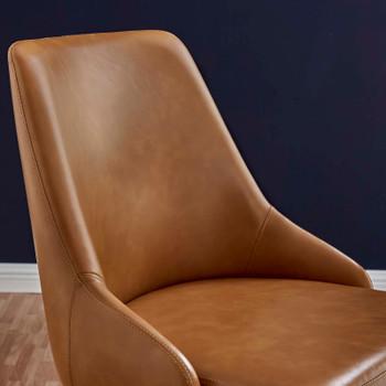 Designate Swivel Vegan Leather Office Chair EEI-4372-BLK-TAN