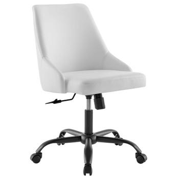 Designate Swivel Vegan Leather Office Chair EEI-4372-BLK-WHI