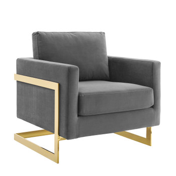 Posse Performance Velvet Accent Chair EEI-4390-GLD-GRY