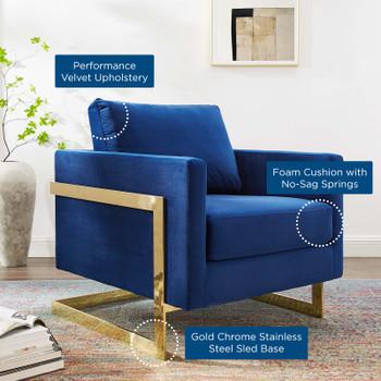 Posse Performance Velvet Accent Chair EEI-4390-GLD-NAV