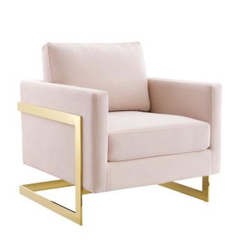 Posse Performance Velvet Accent Chair EEI-4390-GLD-PNK