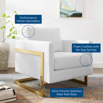 Posse Performance Velvet Accent Chair EEI-4390-GLD-WHI