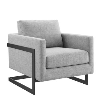 Posse Upholstered Fabric Accent Chair EEI-4391-BLK-LGR