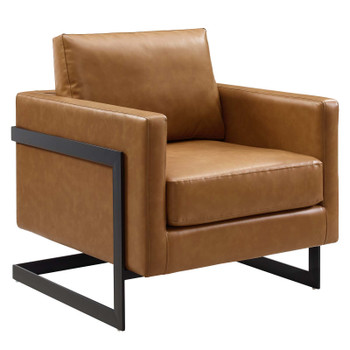 Posse Vegan Leather Accent Chair EEI-4392-BLK-TAN
