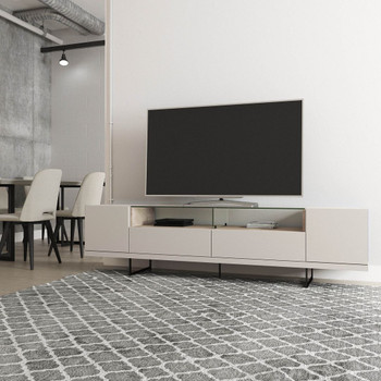 Celine 85.43 TV Stand with 2 Drawers and Steel Legs in Off White and Nude Mosaic Wood