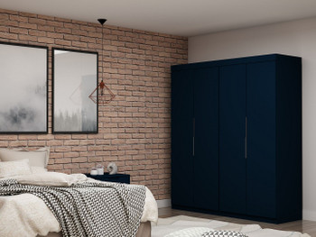 Mulberry 2 Sectional Modern Wardrobe Closet with 4 Drawers - Set of 2 in Tatiana Midnight Blue