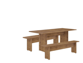 NoMad 67.91 Rustic Country Dining Set of 3 in Nature