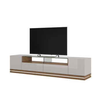 Vanderbilt TV Stand with LED Lights in Off White and Maple Cream