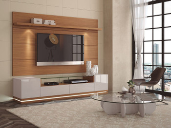 Vanderbilt TV Stand and Cabrini 2.2 Floating Wall TV Panel with LED Lights in Off White and Maple Cream