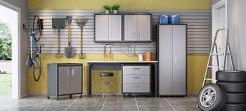 6-Piece Fortress Textured Garage Set with Cabinets, Wall Units and Table in Grey.