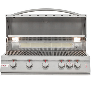 Blaze BLZ-5LTE2-NG 40-Inch 5-Burner Built-In Natural Gas Grill With Rear Infrared Burner & Grill Lights