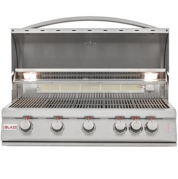 Blaze BLZ-5LTE2-NG 40-Inch 5-Burner Built-In Natural Gas Grill With Rear Infrared Burner & Grill Lights