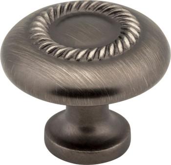 """Elements 1-1/4"""" Diameter Brushed Pewter Rope Detailed Cypress Cabinet Mushroom Knob Z118-BNBDL"""