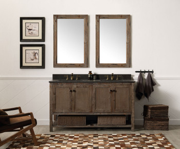 "Legion Furniture WH5160-BR 60"" SOLID WOOD SINK VANITY WITH MARBLE TOP-NO FAUCET In Rustic Brown"