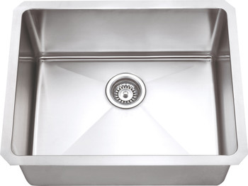 "Hardware Resources 23"" L x 18"" W x 10"" D Undermount 16 Gauge Handmade Stainless Steel Single Bowl Sink HMS175"
