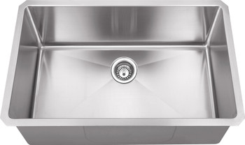 "Hardware Resources 30"" L x 18"" D x 10"" H Undermount 16 Gauge Handmade Stainless Steel Single Bowl Sink HMS190"