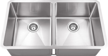 "Hardware Resources 32"" L x 19"" W x 10"" D Undermount 16 Gauge Handmade Stainless Steel 50/50 Double Bowl Sink HMS250"