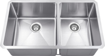 "Hardware Resources 32"" L x 19"" W x 10"" D Undermount 16 Gauge Handmade Stainless Steel 60/40 Double Bowl Sink HMS260L"