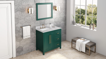 """Jeffrey Alexander 36"""" Forest Green Cade Vanity, left offset, White Carrara Marble Vanity Top, undermount rectangle bowl VKITCAD36GNWCR"""