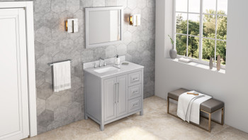 "Jeffrey Alexander 36"" Grey Cade Vanity, left offset, White Carrara Marble Vanity Top, undermount rectangle bowl VKITCAD36GRWCR"