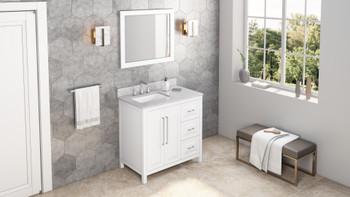 "Jeffrey Alexander 36"" White Cade Vanity, left offset, White Carrara Marble Vanity Top, undermount rectangle bowl VKITCAD36WHWCR"