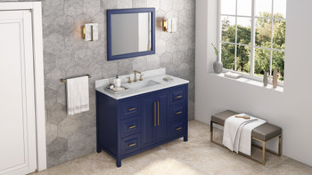 "Jeffrey Alexander 48"" Hale Blue Cade Vanity, White Carrara Marble Vanity Top, undermount rectangle bowl VKITCAD48BLWCR"