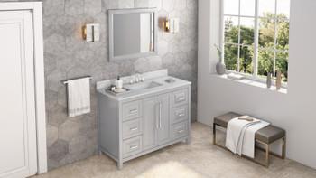 "Jeffrey Alexander 48"" Grey Cade Vanity, White Carrara Marble Vanity Top, undermount rectangle bowl VKITCAD48GRWCR"