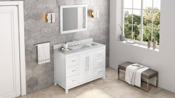 "Jeffrey Alexander 48"" White Cade Vanity, White Carrara Marble Vanity Top, undermount rectangle bowl VKITCAD48WHWCR"