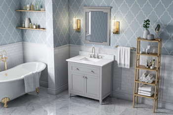 "Jeffrey Alexander 36"" Grey Chatham Vanity, White Carrara Marble Vanity Top, undermount rectangle bowl VKITCHA36GRWCR"