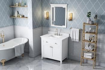 "Jeffrey Alexander 36"" White Chatham Vanity, White Carrara Marble Vanity Top, undermount rectangle bowl VKITCHA36WHWCR"