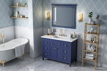"Jeffrey Alexander 48"" Hale Blue Chatham Vanity, White Carrara Marble Vanity Top, undermount rectangle bowl VKITCHA48BLWCR"