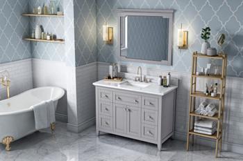 "Jeffrey Alexander 48"" Grey Chatham Vanity, White Carrara Marble Vanity Top, undermount rectangle bowl VKITCHA48GRWCR"