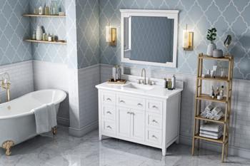 "Jeffrey Alexander 48"" White Chatham Vanity, White Carrara Marble Vanity Top, undermount rectangle bowl VKITCHA48WHWCR"