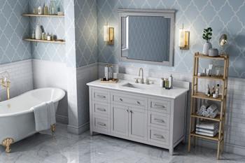 "Jeffrey Alexander 60"" Grey Chatham Vanity, White Carrara Marble Vanity Top, undermount rectangle bowl VKITCHA60SGRWCR"