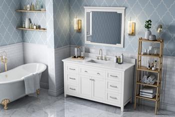 "Jeffrey Alexander 60"" White Chatham Vanity, White Carrara Marble Vanity Top, undermount rectangle bowl VKITCHA60SWHWCR"
