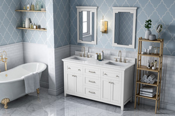 """Jeffrey Alexander 60"""" White Chatham Vanity, double bowl, White Carrara Marble Vanity Top, two undermount rectangle bowls VKITCHA60WHWCR"""