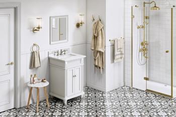 "Jeffrey Alexander 24"" White Douglas Vanity, White Carrara Marble Vanity Top, undermount rectangle bowl VKITDOU24WHWCR"