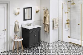 "Jeffrey Alexander 30"" Black Douglas Vanity, White Carrara Marble Vanity Top, undermount rectangle bowl VKITDOU30BKWCR"