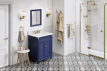 "Jeffrey Alexander 30"" Hale Blue Douglas Vanity, White Carrara Marble Vanity Top, undermount rectangle bowl VKITDOU30BLWCR"