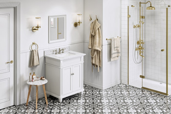 "Jeffrey Alexander 30"" White Douglas Vanity, White Carrara Marble Vanity Top, undermount rectangle bowl VKITDOU30WHWCR"