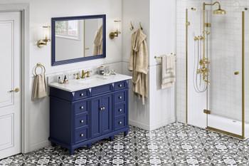 "Jeffrey Alexander 48"" Hale Blue Douglas Vanity, White Carrara Marble Vanity Top, undermount rectangle bowl VKITDOU48BLWCR"
