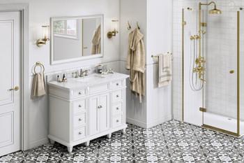 "Jeffrey Alexander 48"" White Douglas Vanity, White Carrara Marble Vanity Top, undermount rectangle bowl VKITDOU48WHWCR"