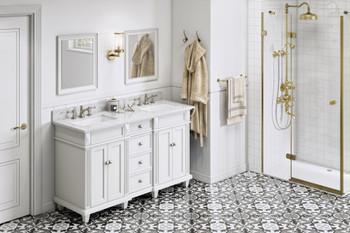 "Jeffrey Alexander 60"" White Douglas Vanity, double bowl, White Carrara Marble Vanity Top, two undermount rectangle bowls VKITDOU60WHWCR"