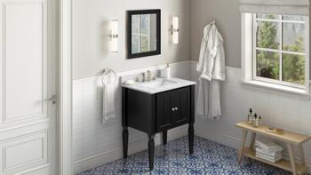"Jeffrey Alexander 30"" Black Jensen Vanity, White Carrara Marble Vanity Top, undermount rectangle bowl VKITJEN30BKWCR"