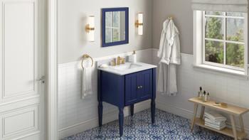 "Jeffrey Alexander 30"" Hale Blue Jensen Vanity, White Carrara Marble Vanity Top, undermount rectangle bowl VKITJEN30BLWCR"